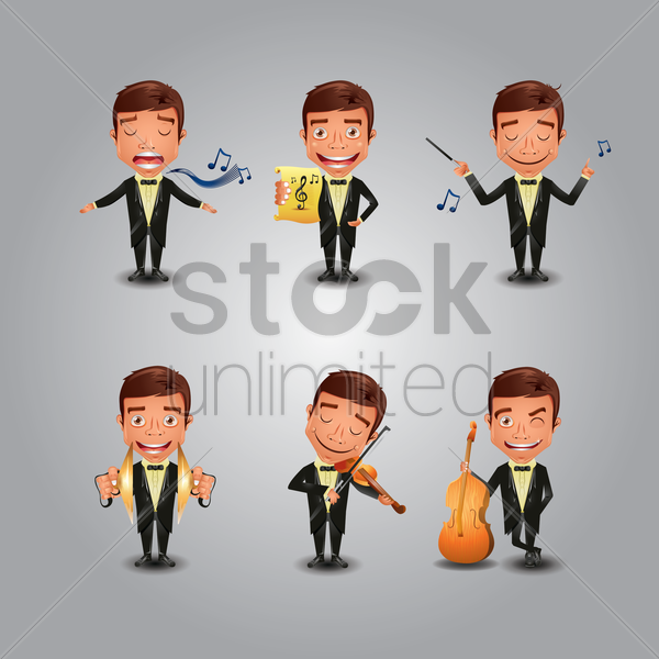 set of musicians vector graphic