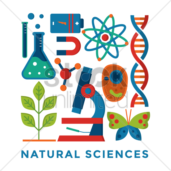 set of natural science icons vector graphic