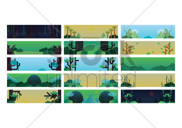 set of nature banners vector graphic