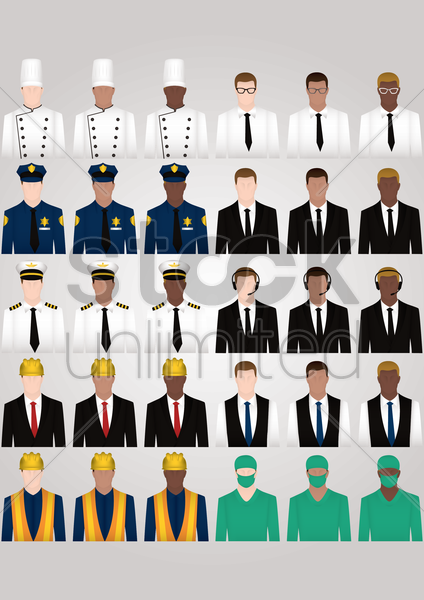 set of occupation icons vector graphic