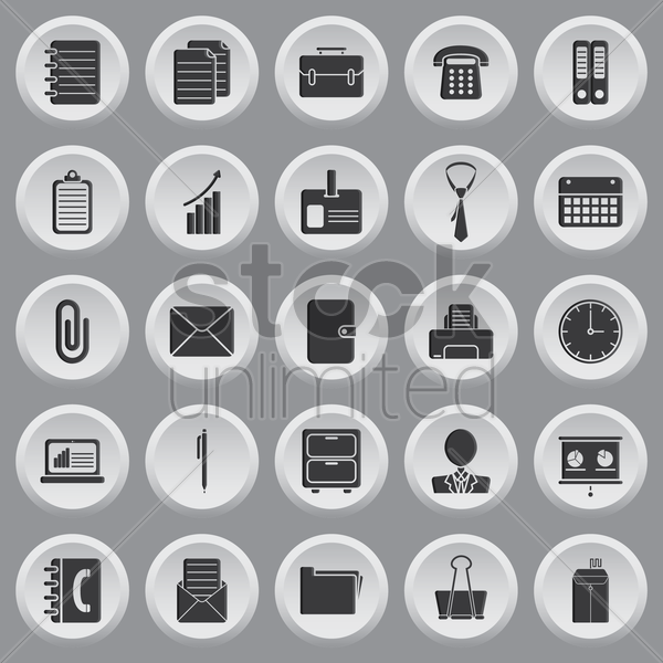 set of office icons vector graphic