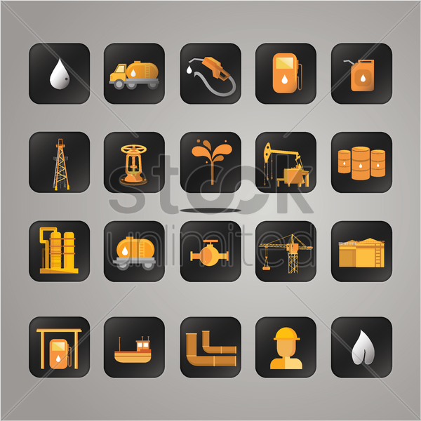 set of oil and gas items vector graphic