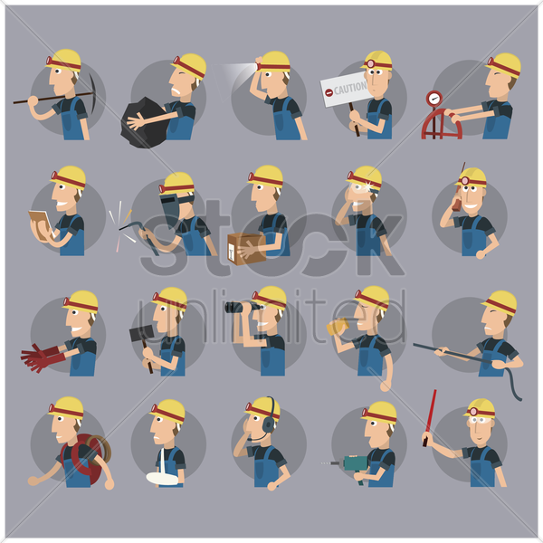 set of oil and gas workers vector graphic