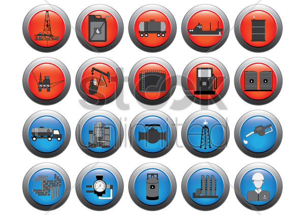set of oil gas icons vector graphic