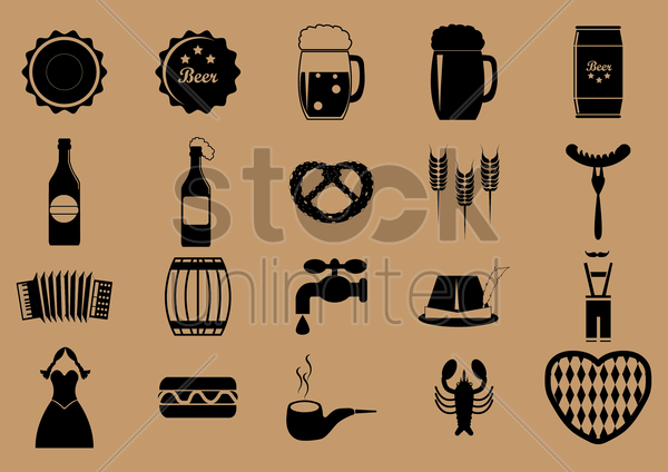 set of oktoberfest icons vector graphic