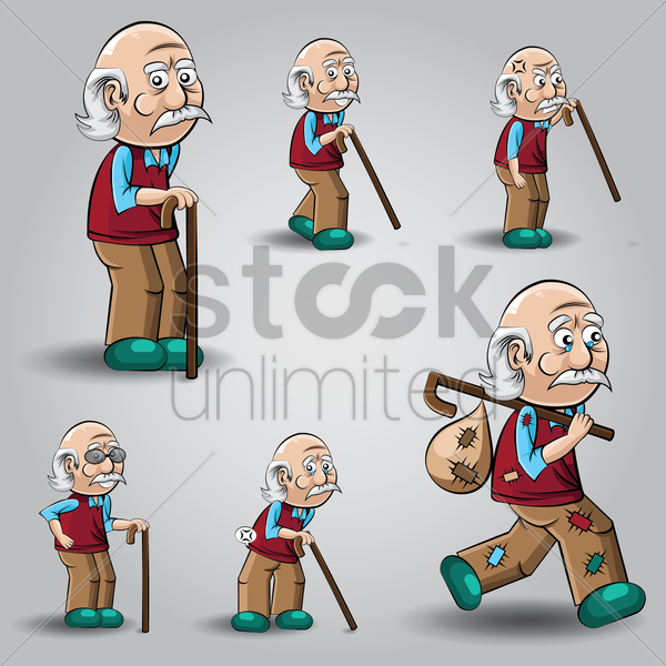 set of old man with stick vector graphic