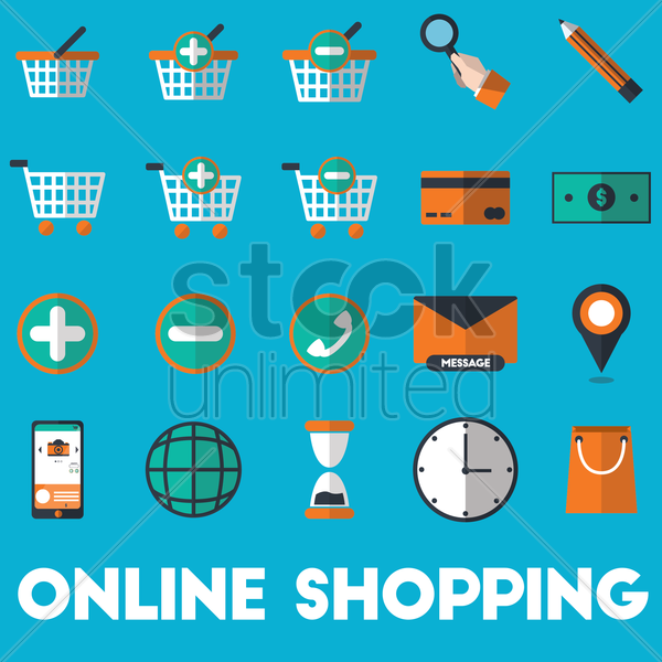 set of online shopping icons vector graphic