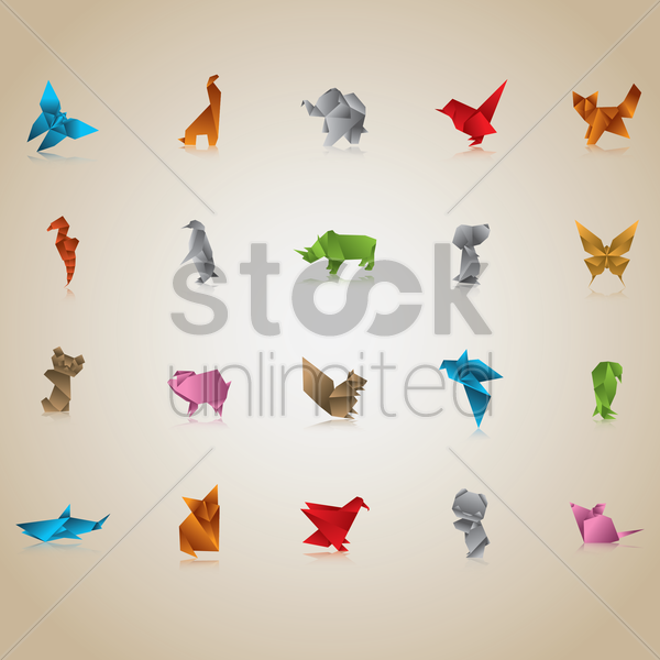 Free set of origami animals and birds vector graphic