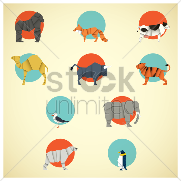 Free set of origami animals vector graphic