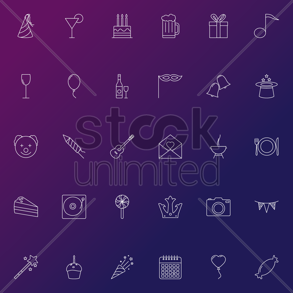 set of party icons vector graphic