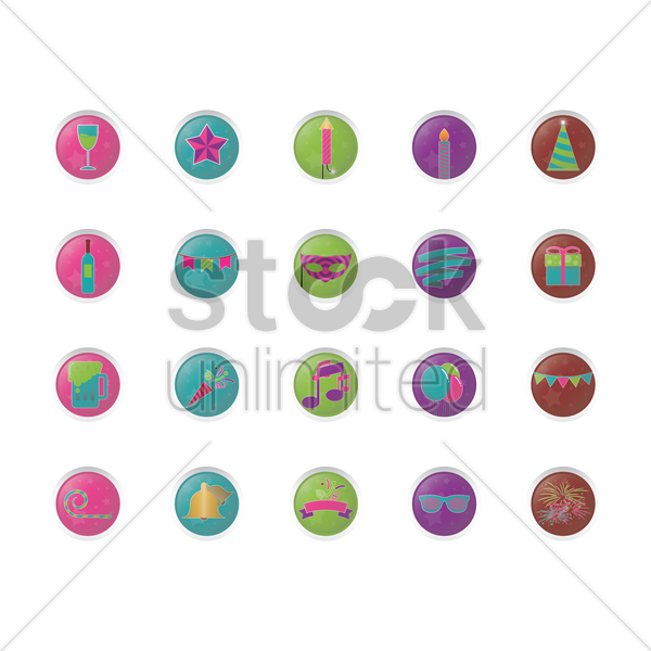 set of party items vector graphic