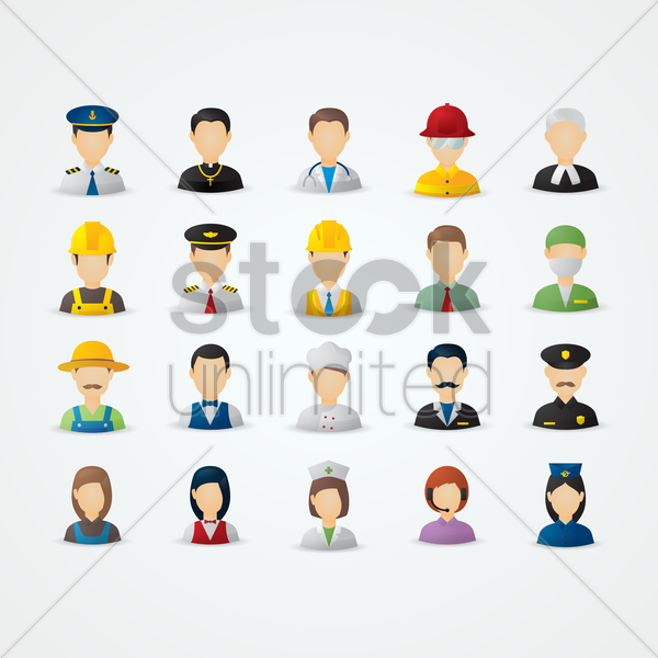set of people and occupation vector graphic