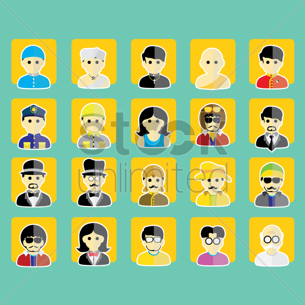set of people icons vector graphic