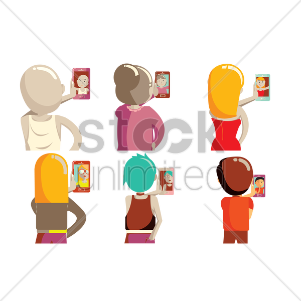 set of people taking selfie icons vector graphic