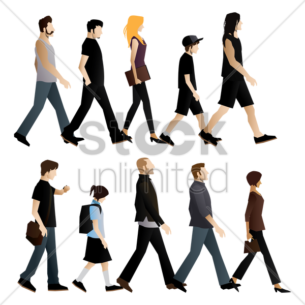 Free set of people walking vector graphic