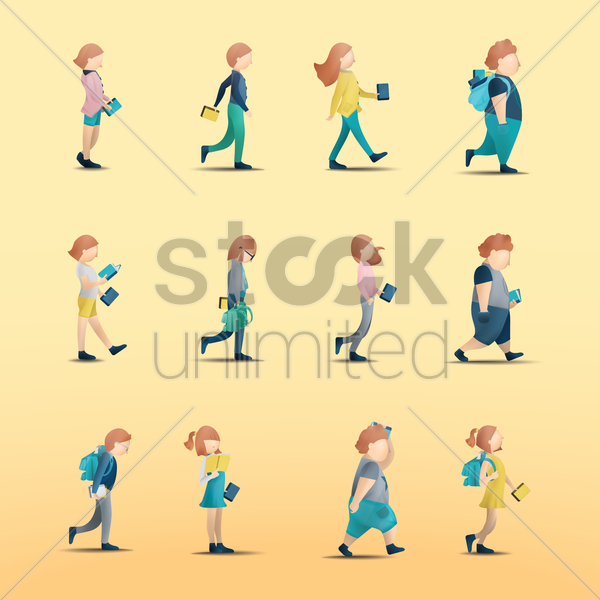 set of people with action vector graphic