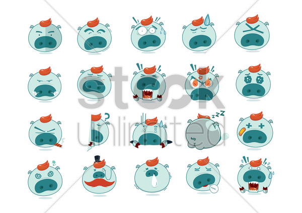 set of pig emoticon icons vector graphic