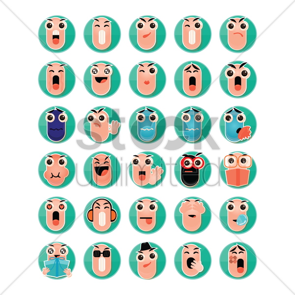 set of pill emoticon icons vector graphic
