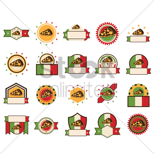 set of pizza labels vector graphic