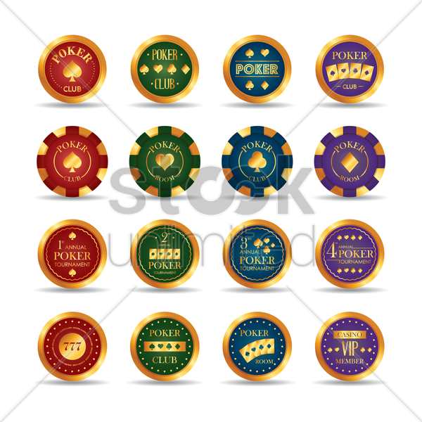 set of poker club chips vector graphic