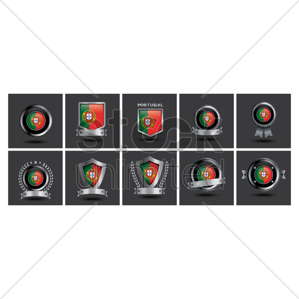 set of portugal badge vector graphic