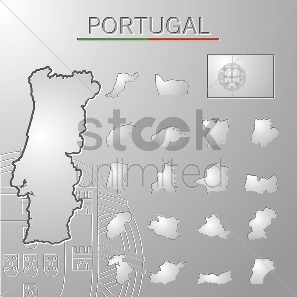 set of portugal cities maps vector graphic