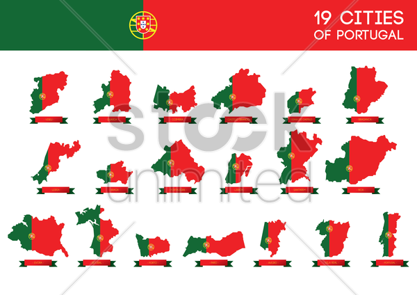 set of portugal cities vector graphic