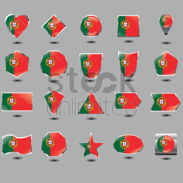 set of portugal flag buttons vector graphic