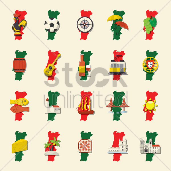 set of portugal icons vector graphic