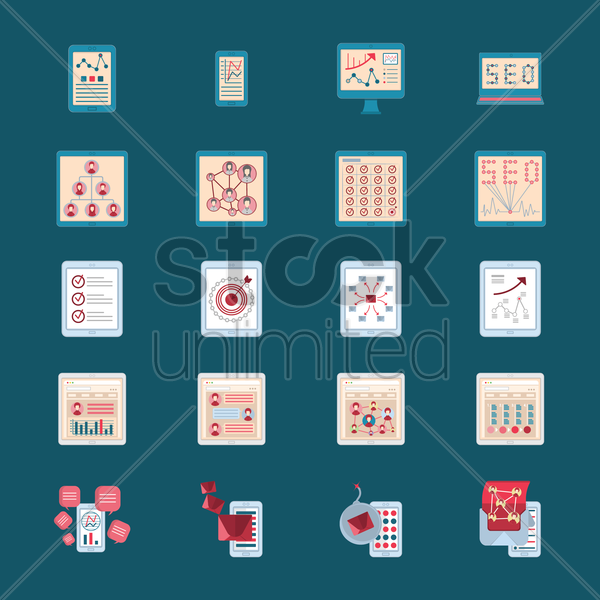 set of presentation icons vector graphic