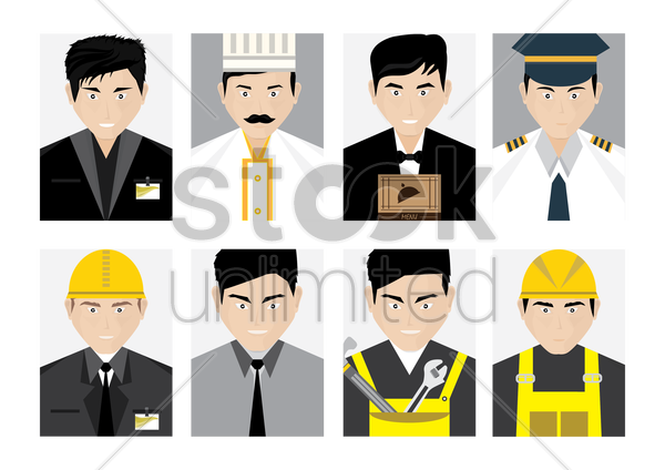 set of profession people vector graphic