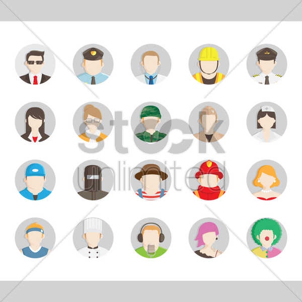 Free set of professional avatar vector graphic