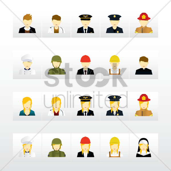 set of professional avatars vector graphic