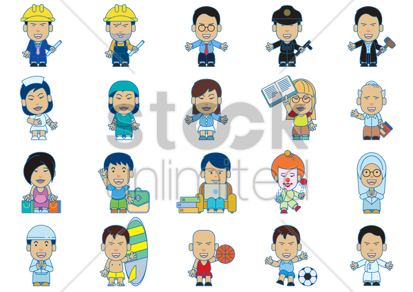 set of professional people vector graphic