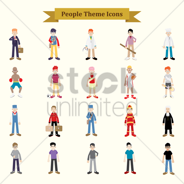 set of professionals people vector graphic