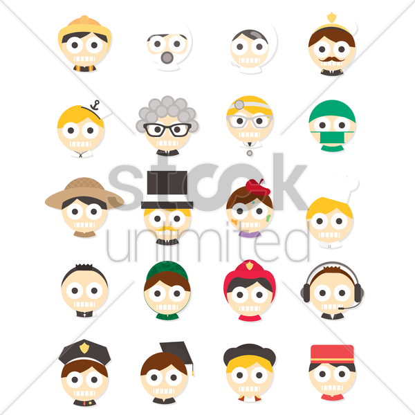 set of professions face signs vector graphic