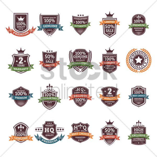 set of quality labels vector graphic