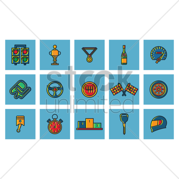 set of race equipment vector graphic