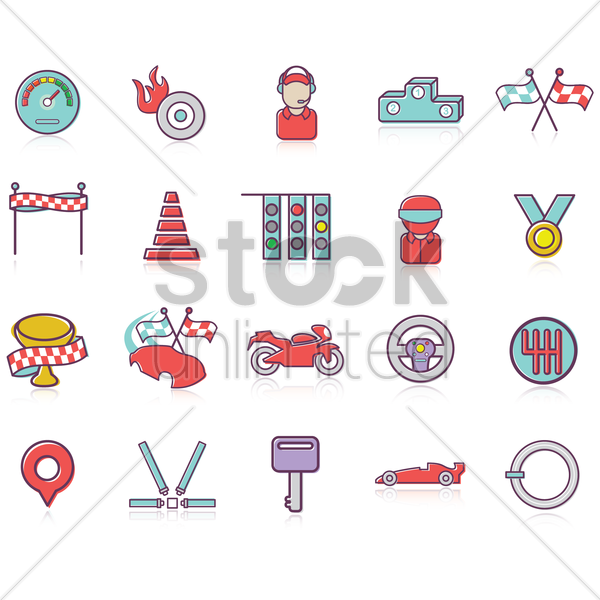 Free set of racing themed icons vector graphic