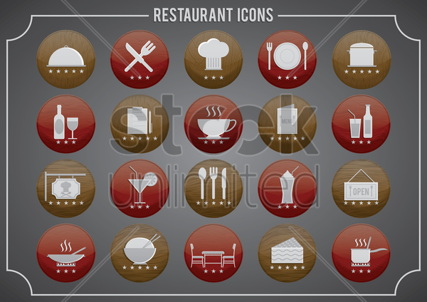 set of restaurant icons vector graphic