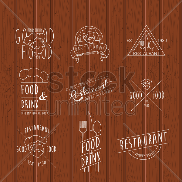 set of restaurant labels vector graphic