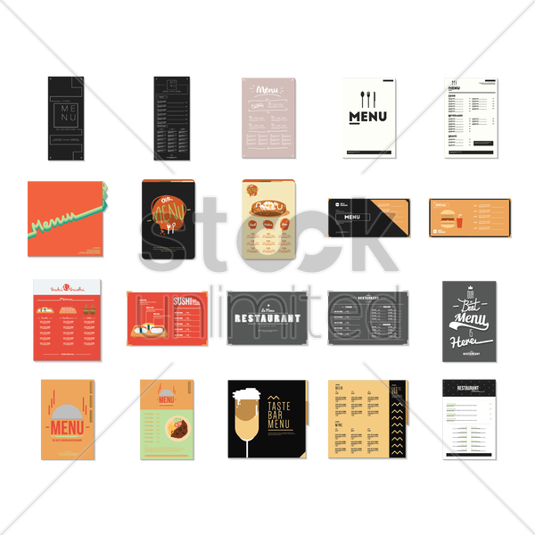 set of restaurant menu card design vector graphic