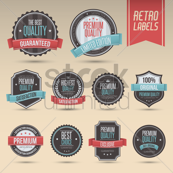 set of retro labels vector graphic