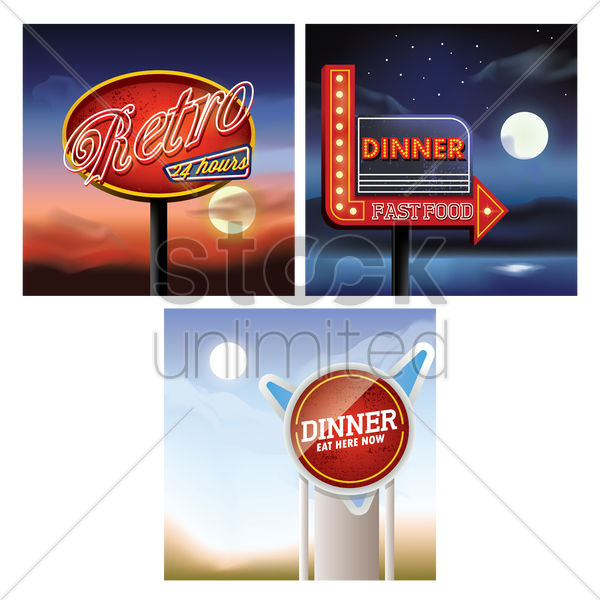 set of retro signboard vector graphic