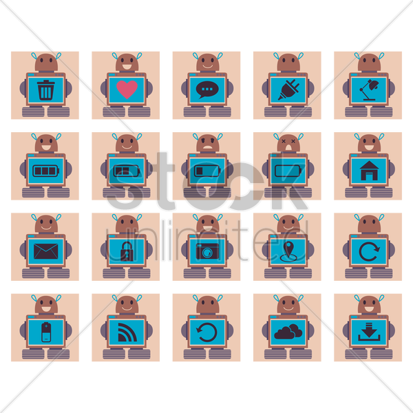 set of robot with icons vector graphic