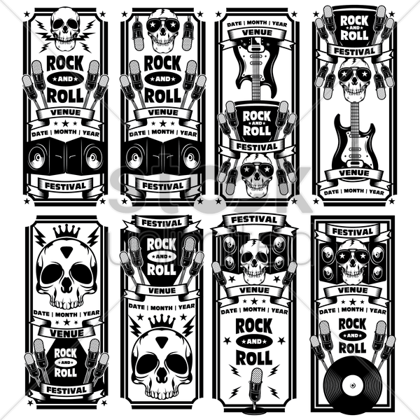 set of rock and roll festival banners vector graphic