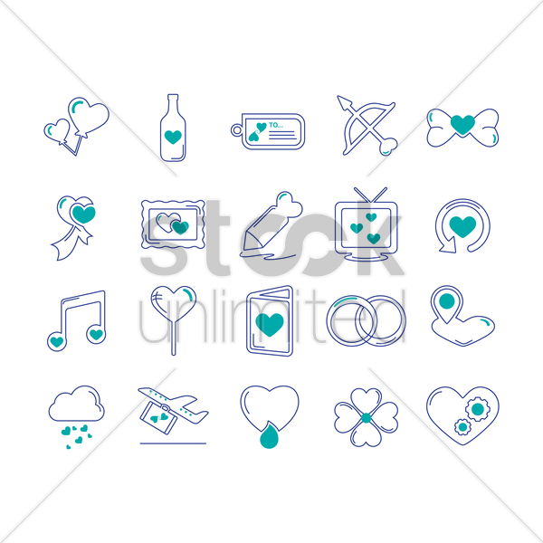 set of romantic icons vector graphic