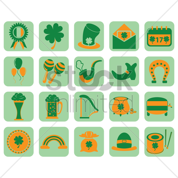 set of saint patrick's festival icons vector graphic