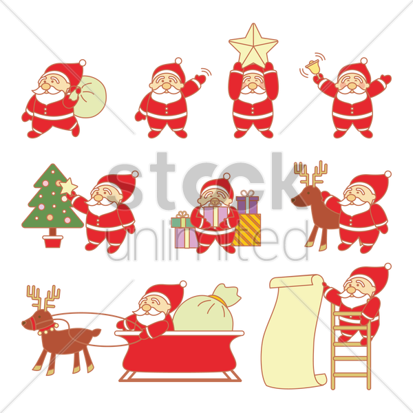 set of santa claus vector graphic