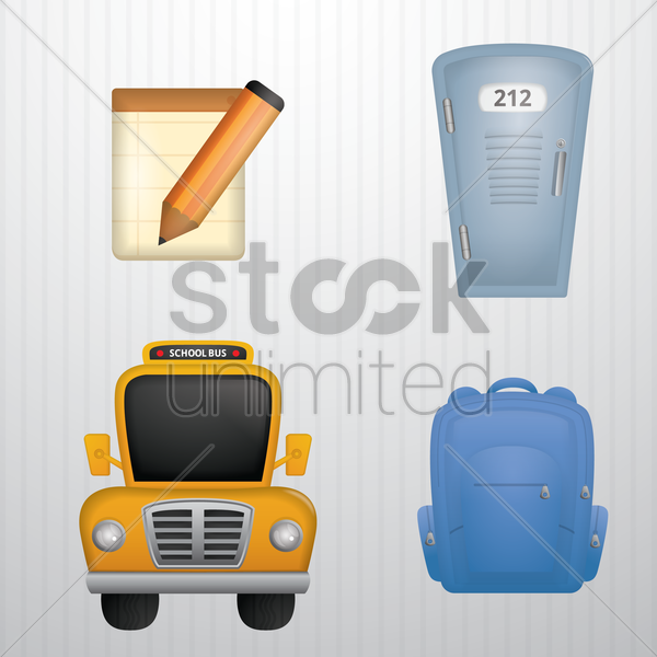 set of school icons vector graphic